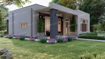 проект дома с плоской крышей 84 м2