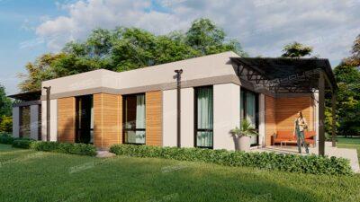 проект дома с плоской кровлей Square one-storey house