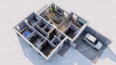 современный дом с плоской кровлей 151 м2