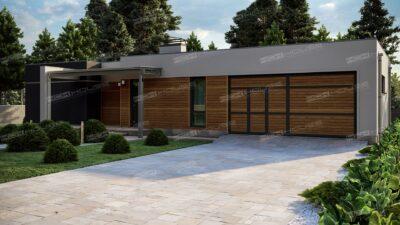 современный дом с плоской кровлей